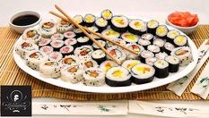 Сьомга суши сет с 30 хапки само за 15.90лв. Екзотична наслада за вкъщи от Клуб Грамофон!