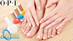 Маникюр или педикюр с OPI + лечебна терапия за чупещи и белещи се нокти с Ph регулатор и комплекс от витамини А и Е от 15лв, от Верига Дерматокозметични центрове ЕНИГМА