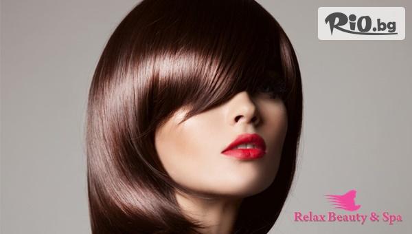 Колагенова терапия за зрели и слаби коси, загубили своя блясък + подстригване, инфраред преса, преса или плитка по желание, от Студио за красота Relax Beauty and SPA