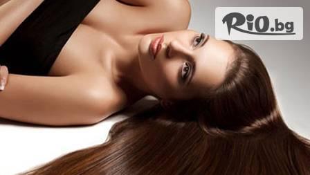 Блясък в косите с възстановяваща арганова терапия + измиване и сешоар за 16,90 лв. от студио