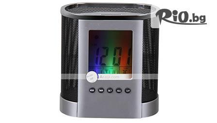 Удобен LED моливник, часовник, календар и термометър за бюрото ти само за 12,90 лв. от рекламна агенция mDobrev.com!