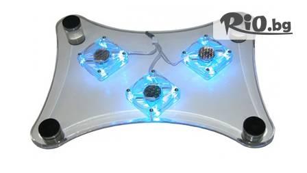 Охладител за лаптоп Blue Led за 7,99 лв. с три вентилатора и сини неонови светлини от Magazina.me