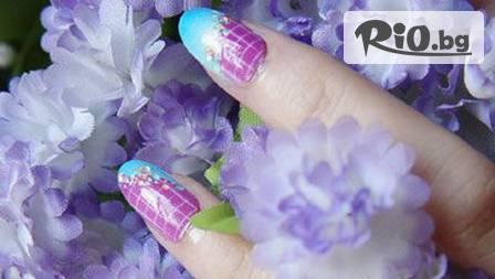 Предизвикателно дълги и изящни нокти с ноктопластика с акрил или гел + 4 декорации по избор за 24,99 лв. от салон