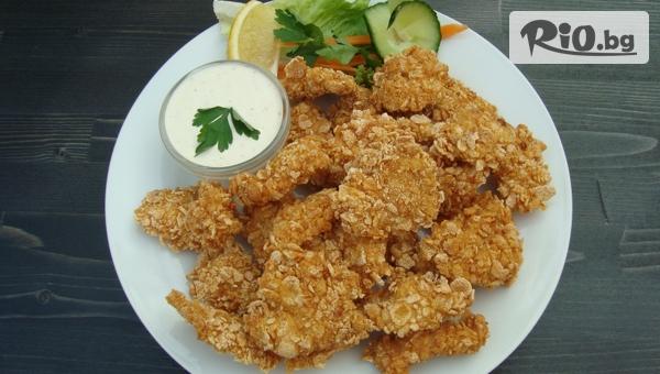 Вкусни пилешки хапки с корнфлейкс + пържени картофи и палачинка по избор, от Механа Камините