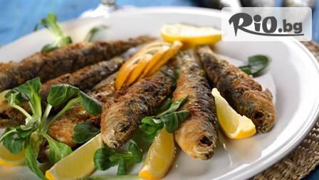 Плато пържена гръцка риба Гавро с пържени картофи за двама(900гр)+ 2 кремa неустоимa Панакота