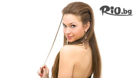 Нова прическа! Изправяне на косата с ботокс ефект на Wella + измиване за 6,90 лв. от слаон Angel Face