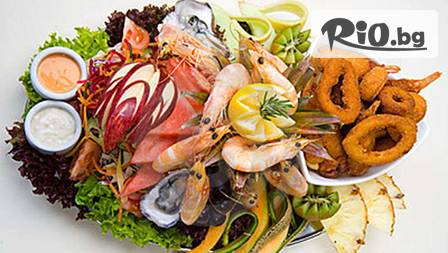 Плато 1кг морски дарове: скариди сурими, калмари, щипки от раци, рибни пръстчета от сьомга, сардина на сакра за 12,99 лв.