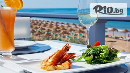 Салата, рибен деликатес и десерт по избор за 9,99лв на плаж Кабакум от ресторант