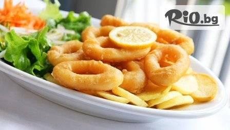 Пресни калмари или скариди 0,200 гр. по избор + Гръцка салата 0,450 гр. и десерт за 7,49 лв. в уюта на гръцката таверна