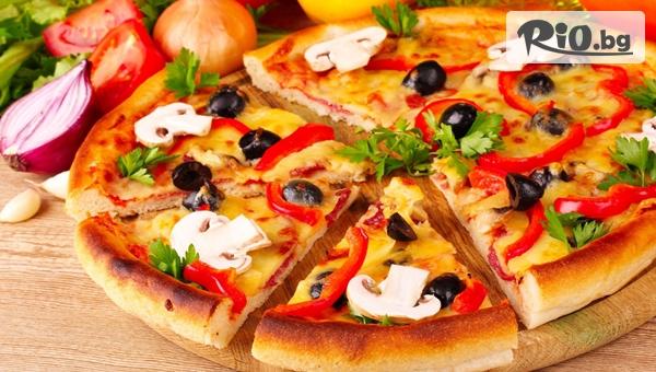 Хапни вкусна голяма пица + палачинка по избор, от Ресторант Фантазия