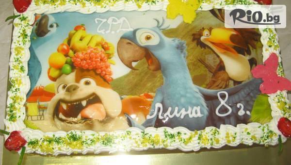 Торта с фотоснимка по избор на клиента и надпис подарък, 16 или 20 парчета, от Сладкарница Орхидея