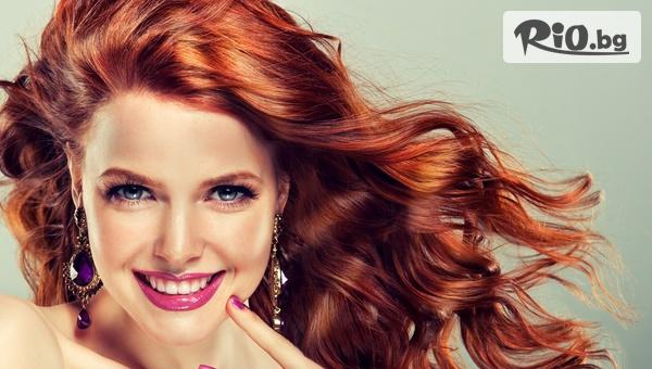 Боядисване на косата с боя на клиента, измиване + оформяне на прическа с четка и сешоар, от Салон за красота Bibi fashion