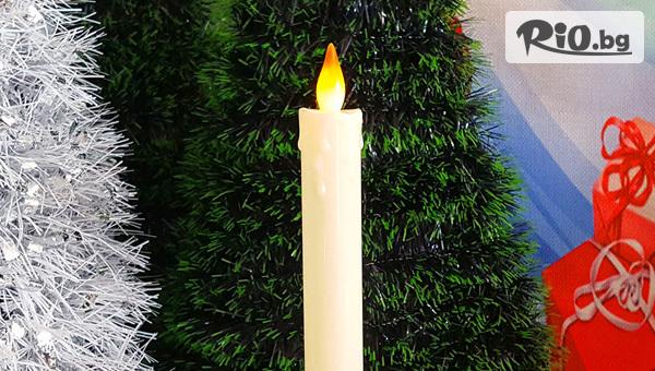 Електронна коледна свещ с LED пламък на поставка, от Svito Shop
