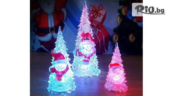 Светеща коледна елхичка с Дядо Коледа или Снежко в 3 размера, от Svito Shop