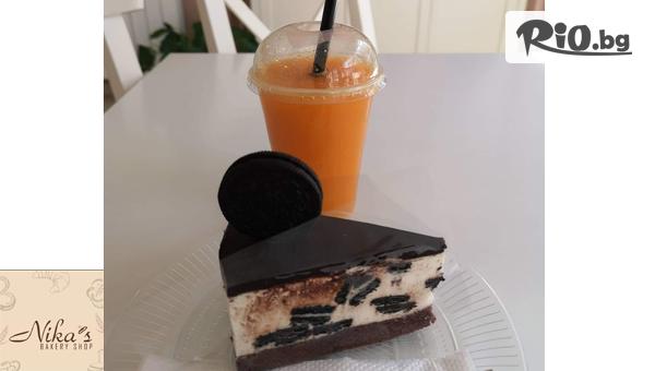 """Парче торта """"Орео"""" + Фреш от портокал, от Бутикова Пекарна Nika´s bakery shop"""