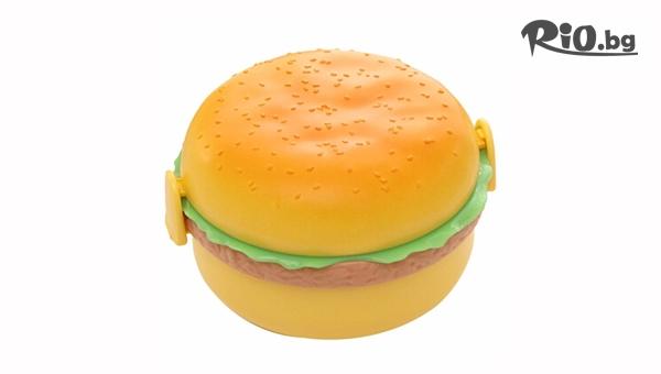 """Детска кутия за обяд """"Хамбургер"""" с 3 отделения и прибори, от Svito Shop"""