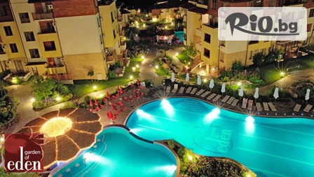 Късно лято в Свети Влас! Нощувка в луксозно студио или апартамент + вътрешен и 8 външни басейна, от Апарт-хотел Райската градина 4*