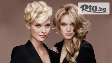 Плетеница обхващаща цялата коса, оформена в красива прическа, за 11,50 лв. от салон за красота