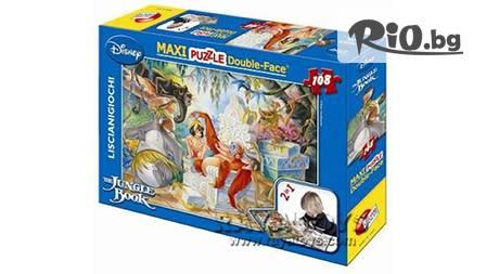 Макси пъзел с Дисни герои с две лица за нареждане и оцветяване - 108 части за 8 лв