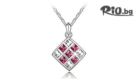 Колие за щастие, любов или страст с кристали и 18 карата бяло злато за 8,90 лв. + елегантна кутийка за подарък от Bijutata.bg