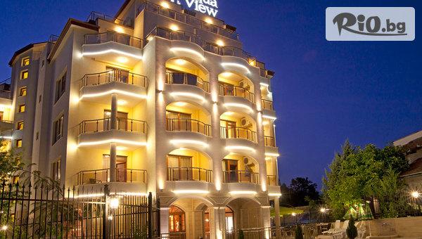 Почивка в Златни пясъци през Септември! Нощувка със закуска и вечеря, по избор + външен басейн и СПА център, от AquaView Boutique Hotel 4*