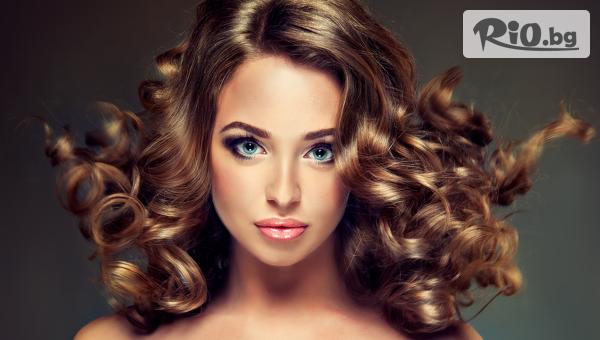 Подстригване, измиване, нанасяне на маска с арганово масло + прическа с празнични букли със 79% отстъпка, от Tesori Beauty Salon