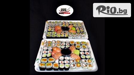 Суши сет от 64, 76 или 100 различни видове хапки с доставка за вкъщи, от Суши Маркет