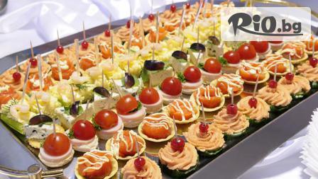 Плато вкусни хапки - 100, 149 или 170 броя - аранжирани и декорирани за директно сервиране, от Кулинарна Работилница Deli4i