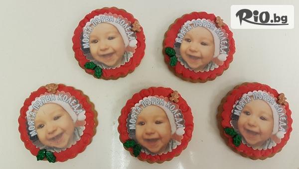 10 броя ръчно приготвени меденки по избор с ваша снимка или украса от цветна глазура или захарно тесто, от Mi Amor - Little bakery