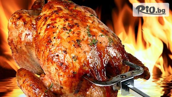 За вкъщи! Голямо печено пиле на грил + порция пържени картофки и чеснов сос за вкъщи, от Грил и скара Коко