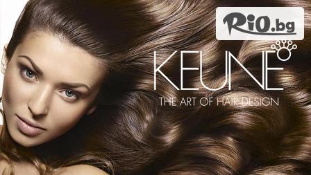 Боядисване с боя за коса Keune с възстановяваща терапия за коса Keune BOND FUSION + масажно измиване и прав сешоар, от Салон за красота Максин